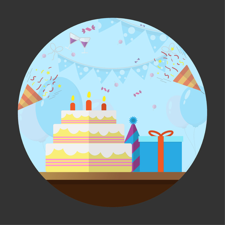 Set flat icon birthday with long shadow vector design  イラスト・ベクター素材