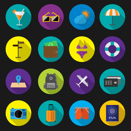 Set flat icon travel holiday with long shadow vector design