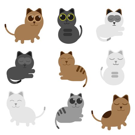 colection set cat happy with cartoon vector design  イラスト・ベクター素材