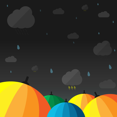 Umbrella when the rain thunder with vector design