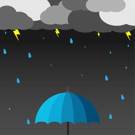 Umbrella when the rain thunder with vector design