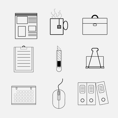 set line icon office object with vector symbol design  イラスト・ベクター素材