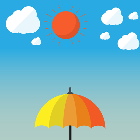 Spread the umbrella when the weather is hot with vector design