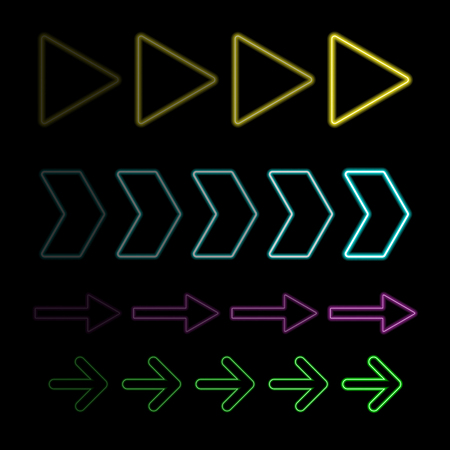 Neon lights with colorful arrows and vector design background