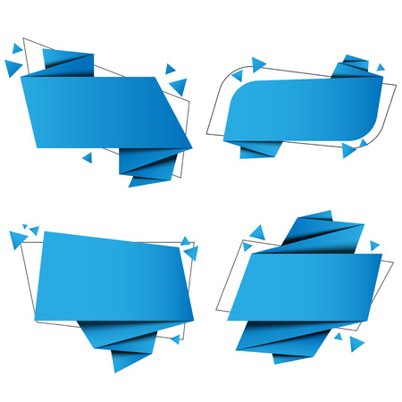 set banner origami paper with vector design Stock Illustratie