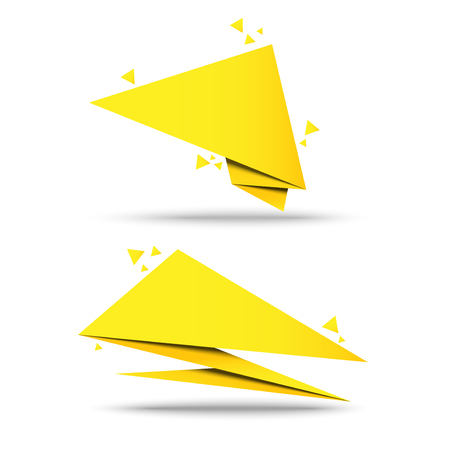 set banner origami paper with vector design  イラスト・ベクター素材