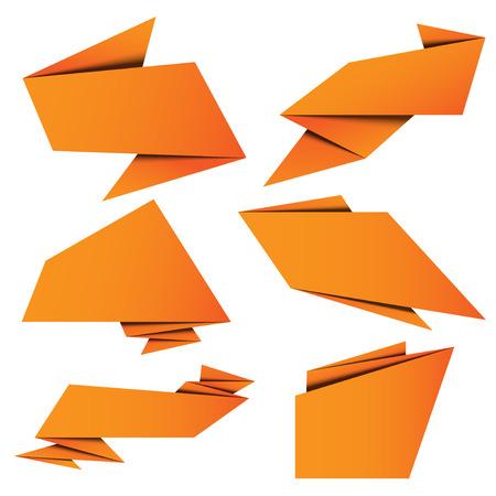 set banner origami paper with vector design Illustration