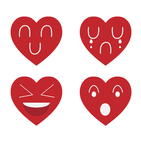 Emotion red heart isolate and white background 向量圖像