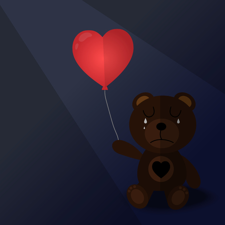 doll bear emotion sad and red balloon with vector design 向量圖像