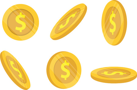 Gold coins and business finance isolate white background with vector design
