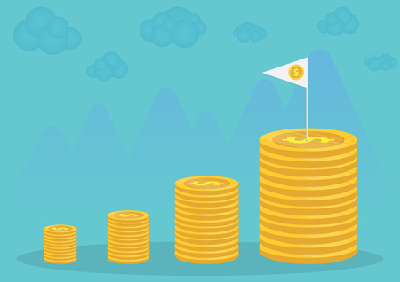 Gold coins and business finance with vector design