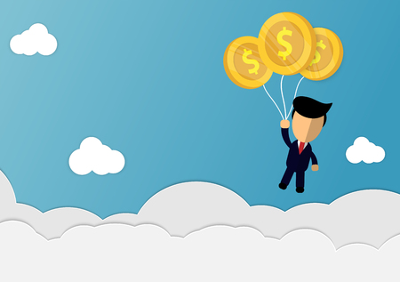 cartoon businessman  catching silver balloons floating in the air with vector design