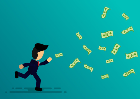 cartoon businessman run for money  with vector design