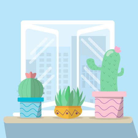 Cactus on the table and window with city views with flat design