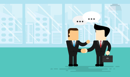 businessman shake hands agreed on office business with flat design Illustration