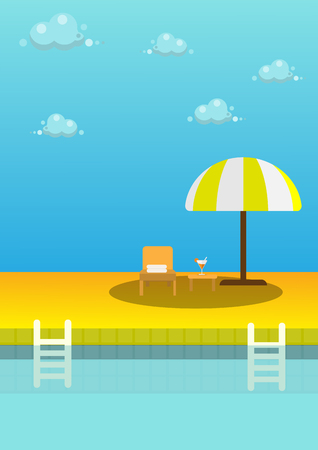 flat design summer pool swimming with water blue vector design