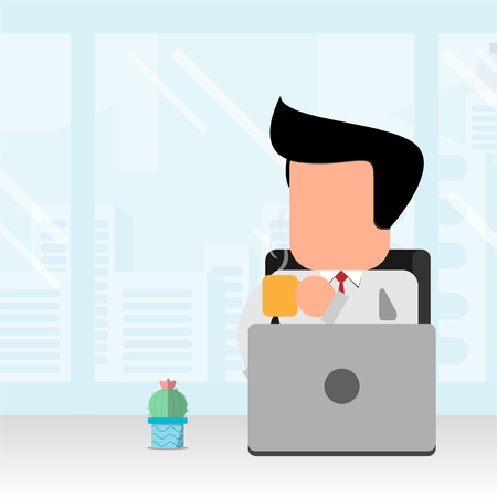 flat design businessman sip coffee in office and city background