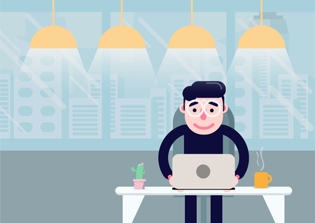 flat design freelance man and outside working office  イラスト・ベクター素材