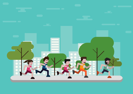Flat design outdoor park with exercise people
