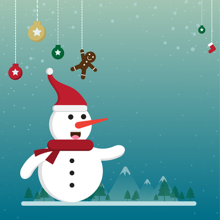 cartoon christmas and winter season with flat design