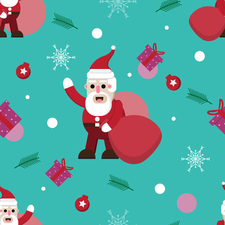 cartoon christmas holiday pattern seamless background with vector design