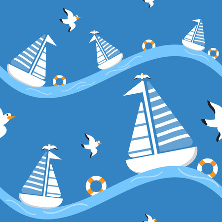 cartoon seamless pattern ship ocean sea background with vector design Illustration