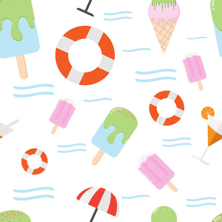 cartoon seamless pattern food summer background with vector design Illustration