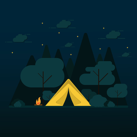 flat design camping in the forest at night with vector Illustration