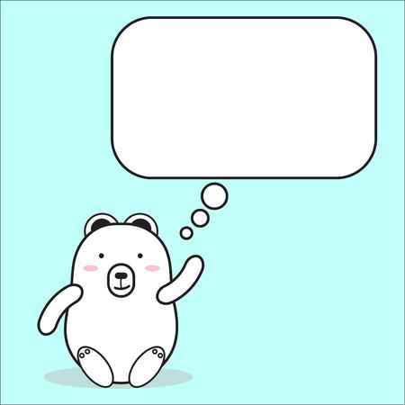 cartone animato orso bianco personaggio carino con disegno vettoriale