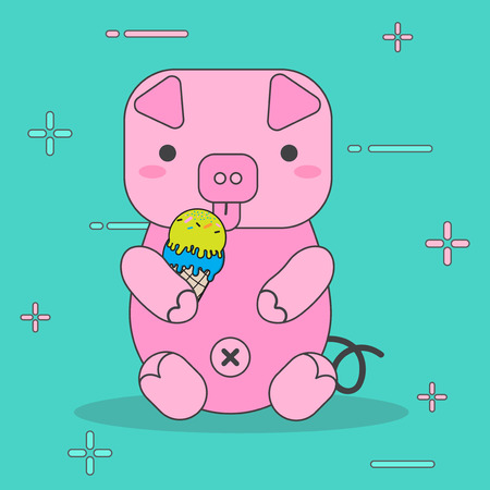 cartoon pink pigs eat ice cream character cute with vector design