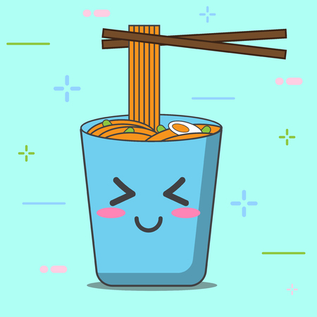 cartoon noodle blue cup and character cute with vector design Ilustração