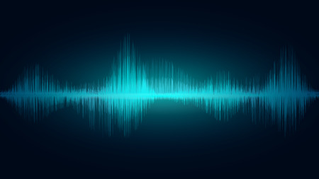 line soundwave abstract background with voice music technology Imagens