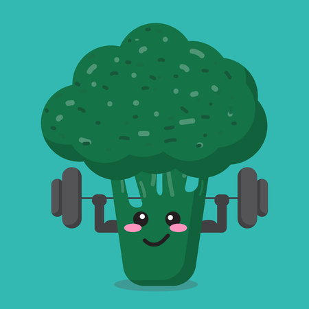 cartoon broccoli health strong background isolate with character cute and vector design