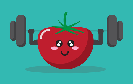 cartoon tomato health strong background isolate with character cute and vector design Banco de Imagens - 124926043