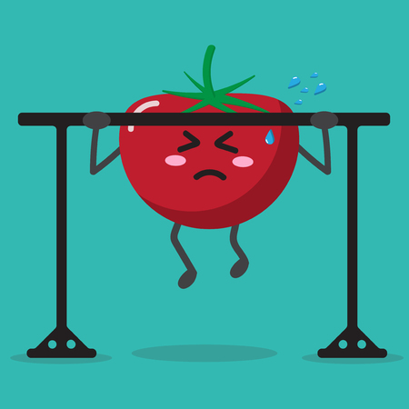 cartoon tomato health strong background isolate with character cute and vector design