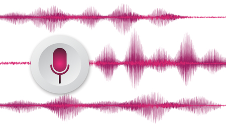 line soundwave abstract background with voice music technology Ilustração