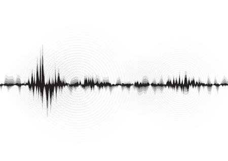 line soundwave abstract background with voice music technology Illustration