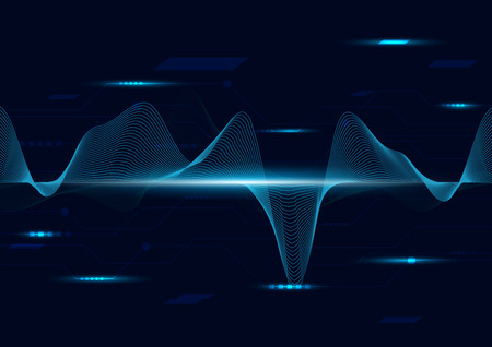 line soundwave abstract background with voice music technology Ilustracja
