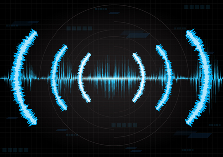 line soundwave abstract background with voice music technology Иллюстрация