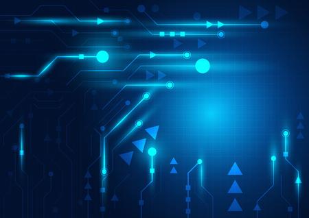 Geometrischer und blauer Hintergrund der Hightech-Technologie mit digitaler Datenzusammenfassung Vektorgrafik