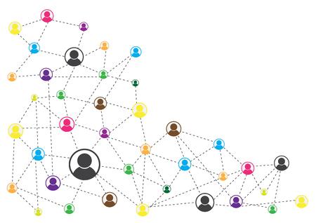 Conexión de red de fondo abstracto con formas poligonales de línea y diseño vectorial