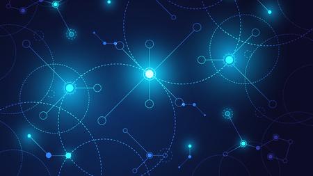 Fondo de sistema geométrico y de conexión de tecnología de alta tecnología con resumen de datos digitales Ilustración de vector