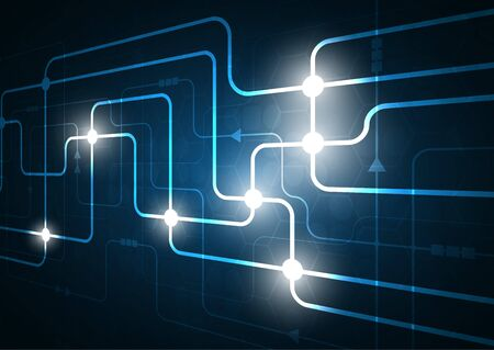High tech technology geometric and connection system background with digital data abstract Reklamní fotografie - 131762931