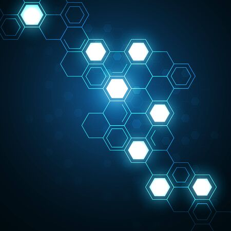 High tech technology geometric and connection system background with digital data abstract Reklamní fotografie - 131762953
