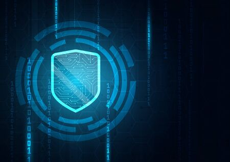 Online data protection shield and abstract with computer technology Reklamní fotografie - 131762897