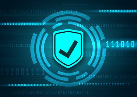 Online data protection shield and abstract with computer technology Archivio Fotografico - 131762777