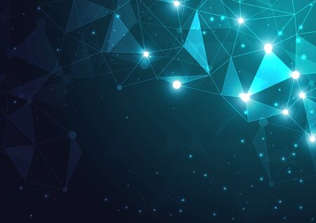 High tech technology geometric and connection system background with digital data abstract