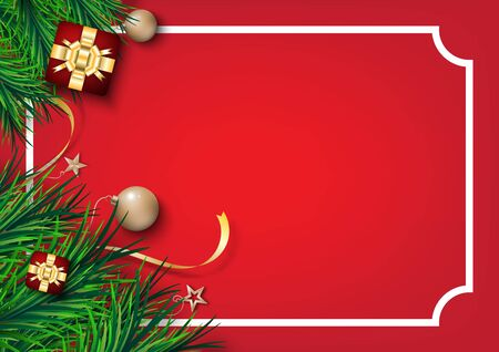 Christmas festival. gift box ball and  pine leaves on  red background     Ilustrace