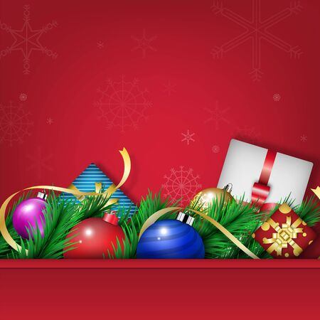 Winter Christmas season with holiday decorations.  space copy text and vector design Reklamní fotografie - 134585328