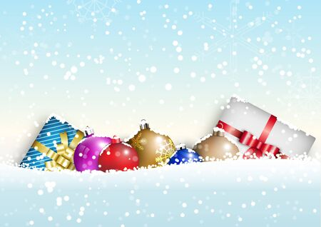 Winter Christmas season with holiday decorations.  space copy text and vector design Reklamní fotografie - 134585347
